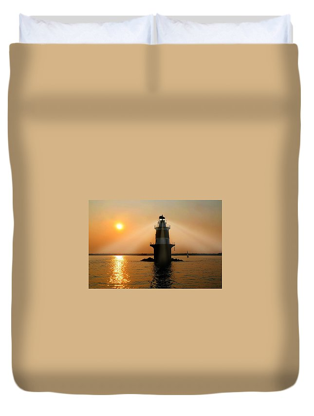 Norwalk Connecticut Lighthouse Duvet Cover featuring the photograph Guiding Light by Diana Angstadt