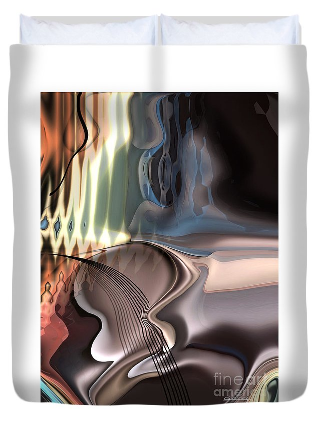 Music Duvet Cover featuring the painting Guitar Sound by Christian Simonian