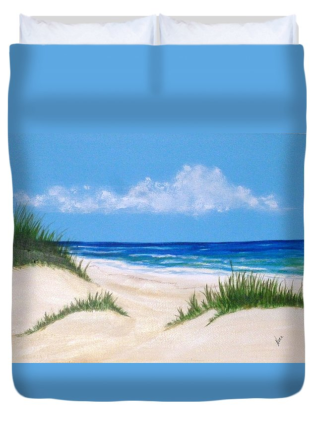 Beach Duvet Cover featuring the painting Gulf Coast 6 by Nancy Nuce