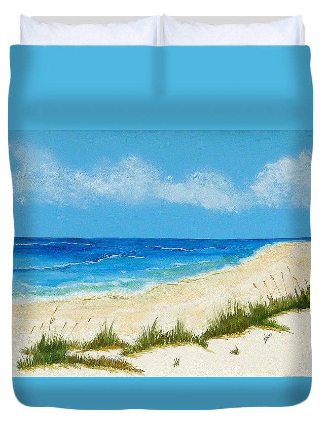 Beach Duvet Cover featuring the painting Gulf Coast IIi by Nancy Nuce