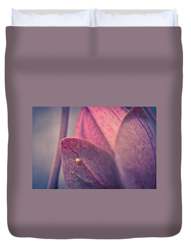 Butterfly Duvet Cover featuring the photograph Gulf Fritillary Butterfly Egg by Priya Ghose
