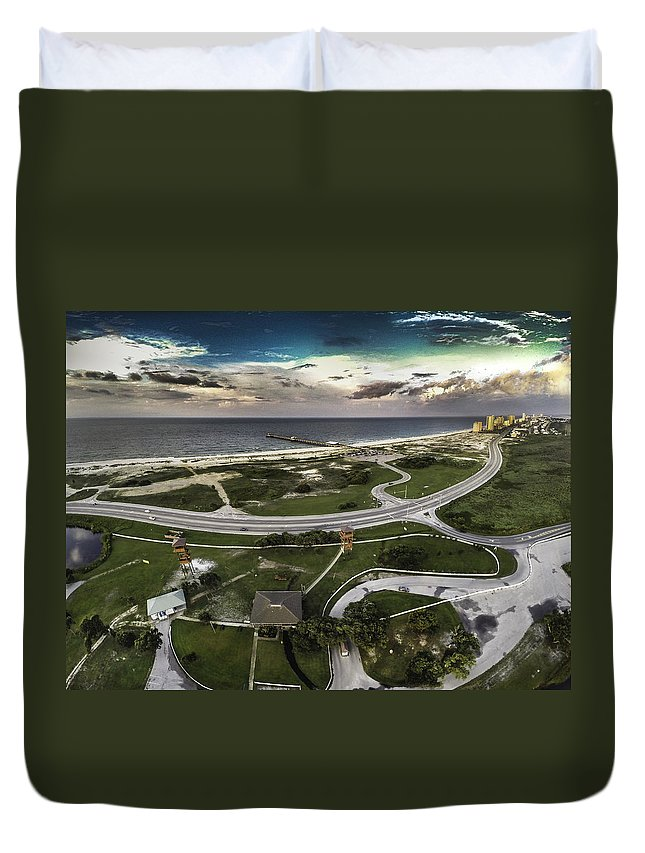 Palm Duvet Cover featuring the digital art Gulf State Park And Pier by Michael Thomas