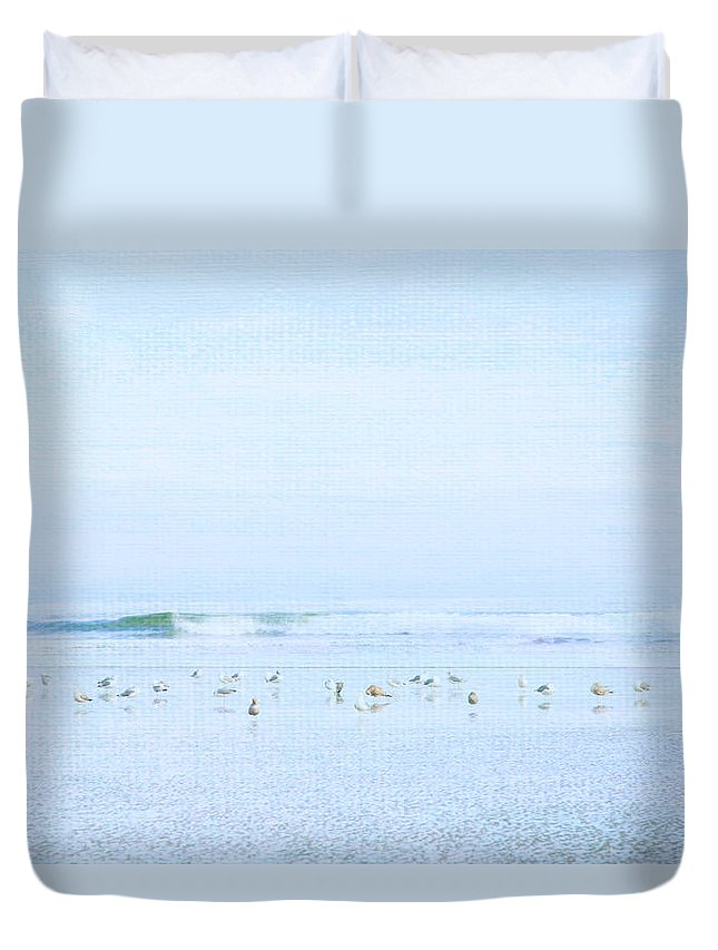 Seagull Duvet Cover featuring the photograph Gulls And Waves Blue by Theresa Tahara