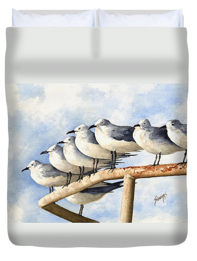 Bird Duvet Cover featuring the painting Gulls by Sam Sidders