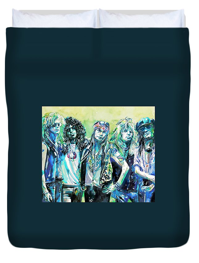 Guns Duvet Cover featuring the painting Guns N' Roses - Watercolor Portrait by Fabrizio Cassetta