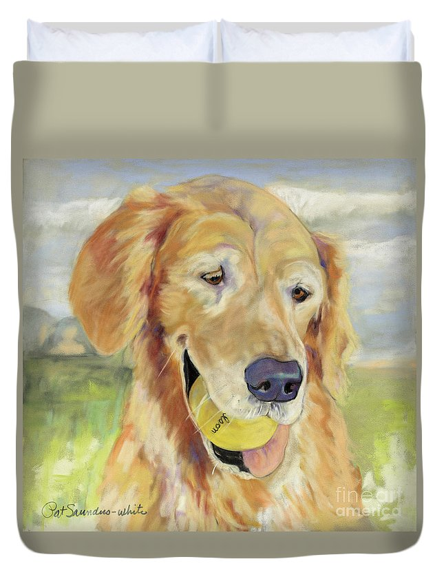 Pat Saunders-white Pastel Painting Duvet Cover featuring the painting Gus by Pat Saunders-White