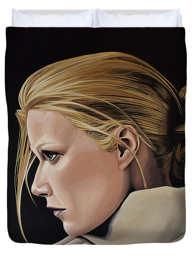 Gwyneth Paltrow Duvet Cover featuring the painting Gwyneth Paltrow Painting by Paul Meijering