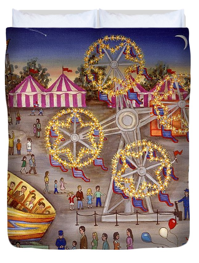 Folk Art Carnival Duvet Cover featuring the painting Gyro At The Carnival by Linda Mears