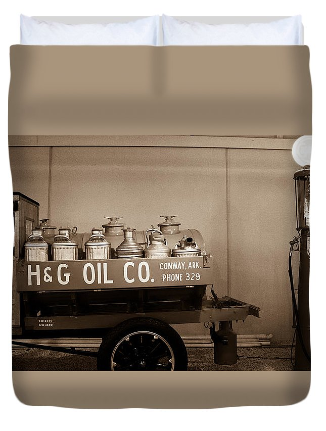 H&g Duvet Cover featuring the photograph H And G Oil Company In Sepia by Douglas Barnett