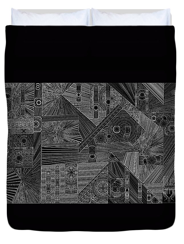 Horizontal Duvet Cover featuring the digital art H Are They Watching Wd2 Bw by Dale Crum