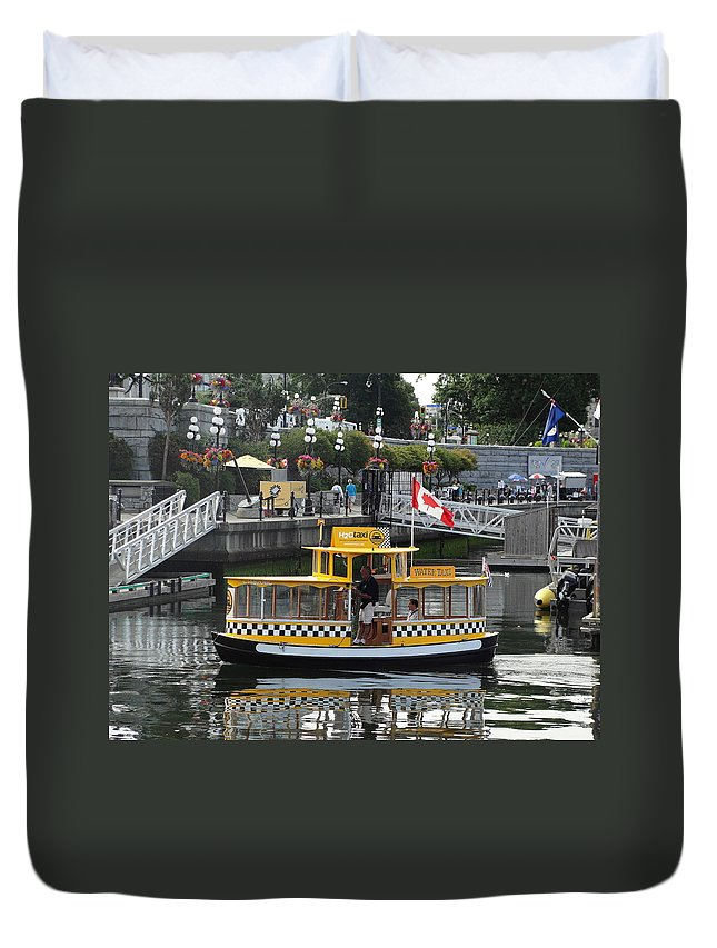 Water Taxi Duvet Cover featuring the photograph H20 Taxi by Natalie Ortiz