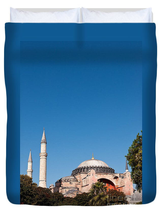 Istanbul Duvet Cover featuring the photograph Hagia Sophia Blue Sky 02 by Rick Piper Photography