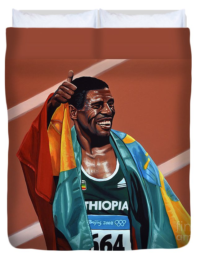 Haile Gebrselassie Duvet Cover featuring the painting Haile Gebrselassie by Paul Meijering