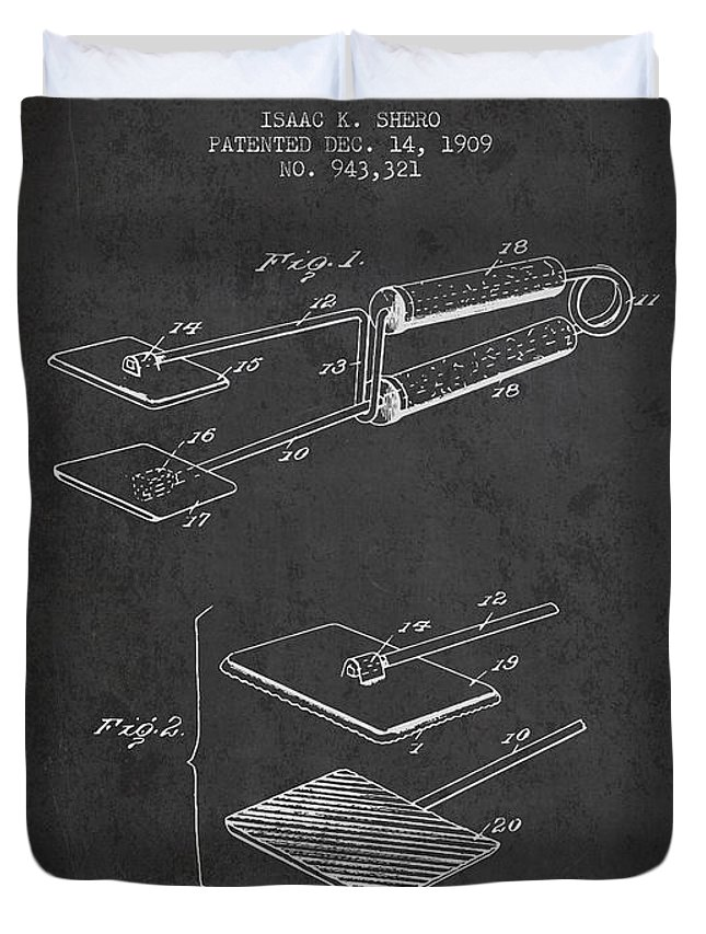 Hair Dryer Duvet Cover featuring the digital art Hair Straightener Patent From 1909 - Charcoal by Aged Pixel