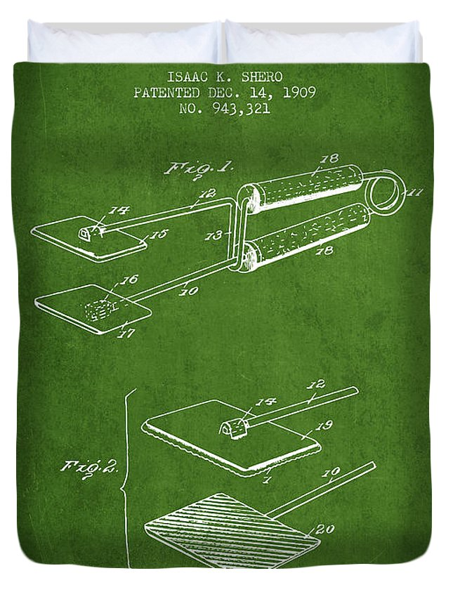 Hair Dryer Duvet Cover featuring the digital art Hair Straightener Patent From 1909 - Green by Aged Pixel