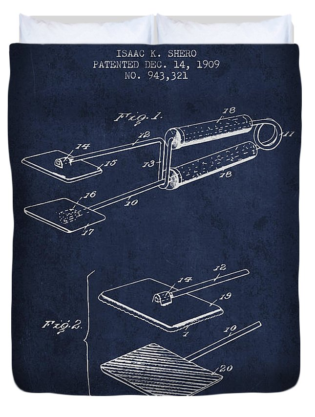 Hair Dryer Duvet Cover featuring the digital art Hair Straightener Patent From 1909 - Navy Blue by Aged Pixel