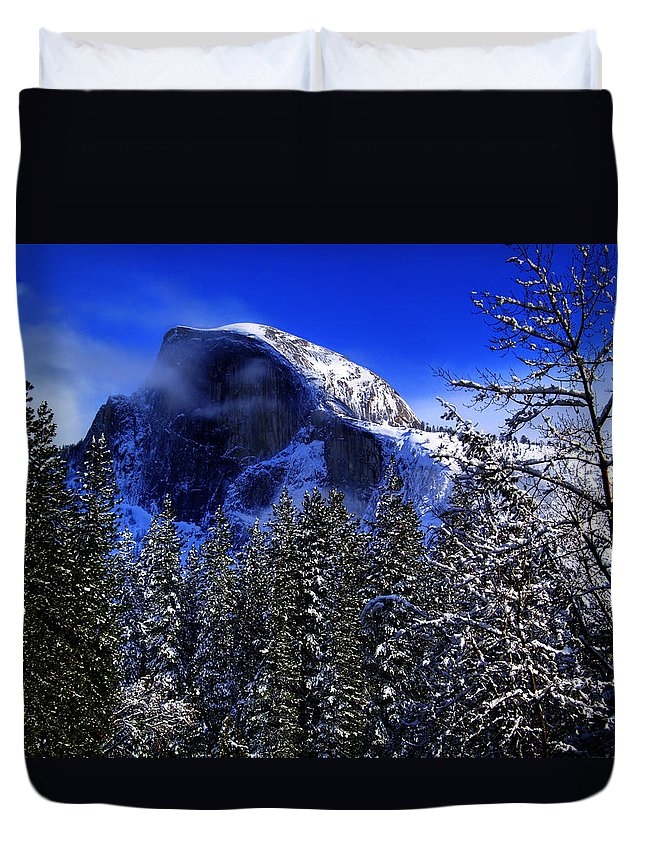 Yosemite Duvet Cover featuring the photograph Half Dome Clearing by Bill Gallagher