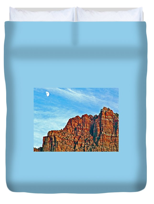 Half Moon Over Zion National Park Duvet Cover featuring the photograph Half Moon Over Zion National Park-utah by Ruth Hager