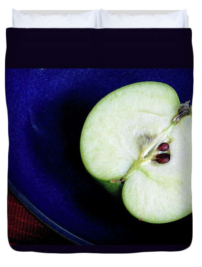 Healthy Eating Duvet Cover featuring the photograph Half Of A Green Apple In A Blue Bowl by Rebecca E Marvil