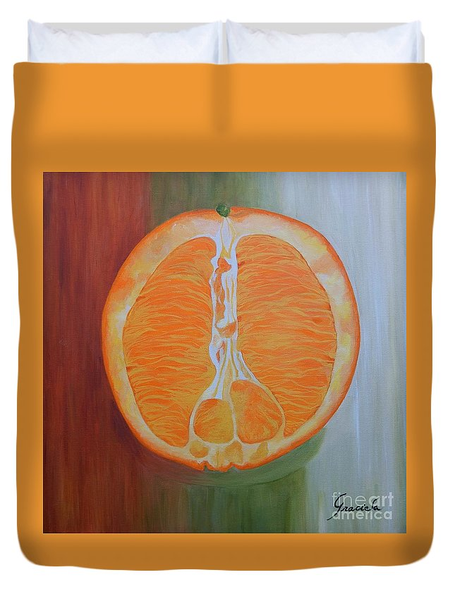 Fruit Duvet Cover featuring the painting Half Orange by Graciela Castro