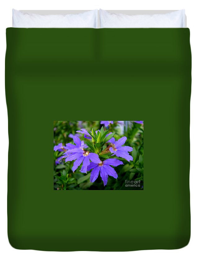 Flower Duvet Cover featuring the photograph Half Round Blues by Lew Davis