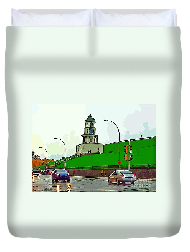 Halifax Historic Town Clock Poster Duvet Cover featuring the photograph Halifax Historic Town Clock Graphic by John Malone Halifax artist