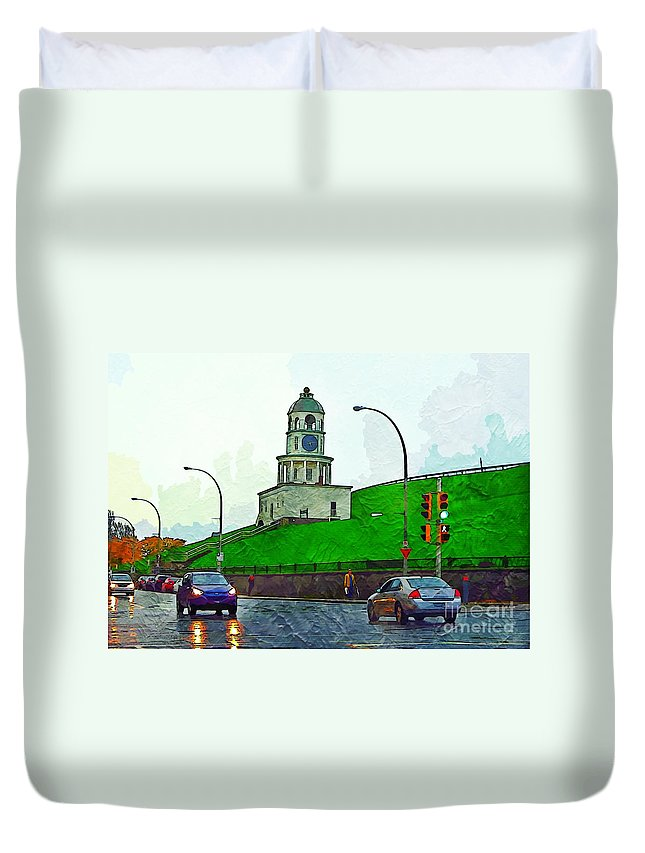 Halifax Historic Town Clock Poster Duvet Cover featuring the photograph Halifax Historic Town Clock by John Malone Halifax photographer