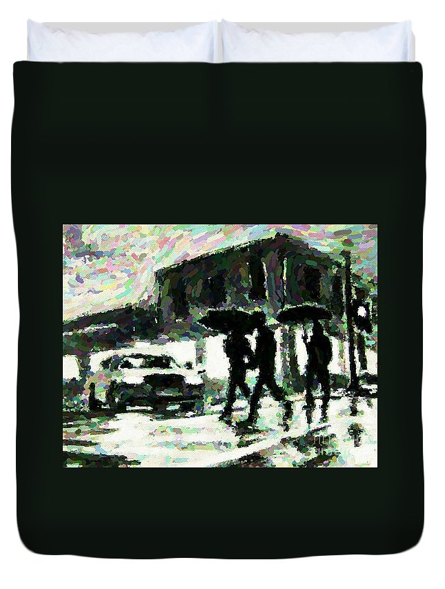 Landscape Paintings Duvet Cover featuring the digital art Halifax In The Rain One by John Malone