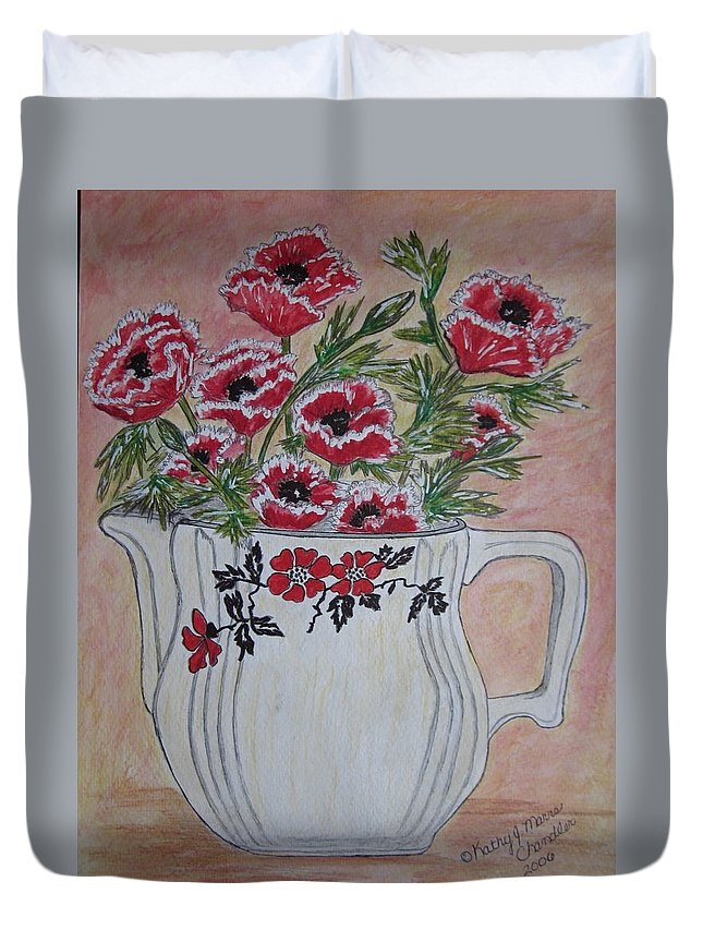Hall China Duvet Cover featuring the painting Hall China Red Poppy And Poppies by Kathy Marrs Chandler