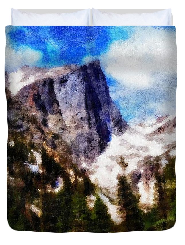 Hallett Peak In Spring Duvet Cover featuring the painting Hallett Peak In Spring by Dan Sproul