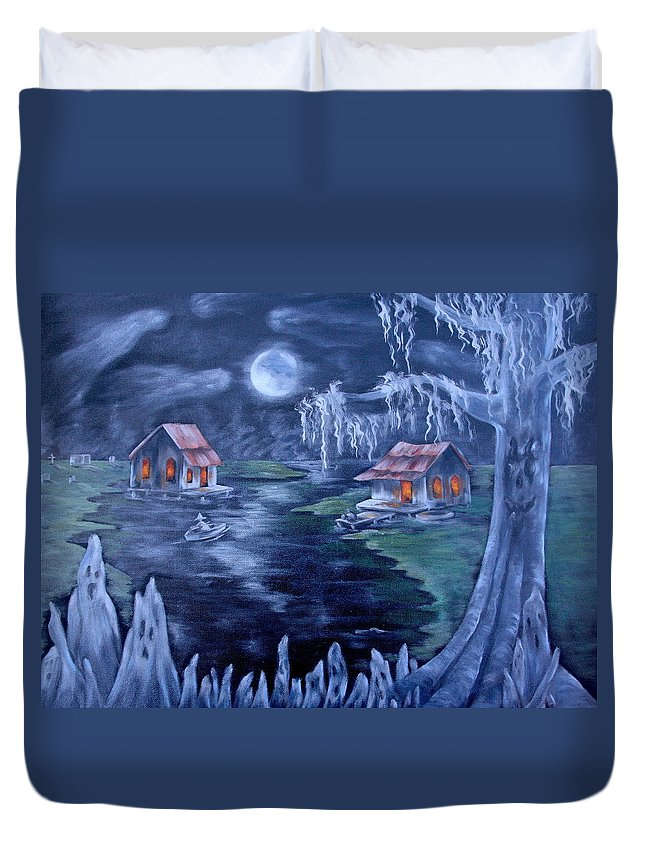 Halloween Duvet Cover featuring the painting Halloween In The Swamp by Ruth Bares