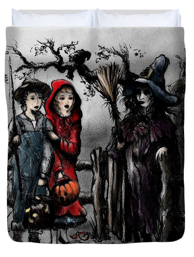 Halloween Duvet Cover featuring the drawing Halloween Night by Rachel Christine Nowicki