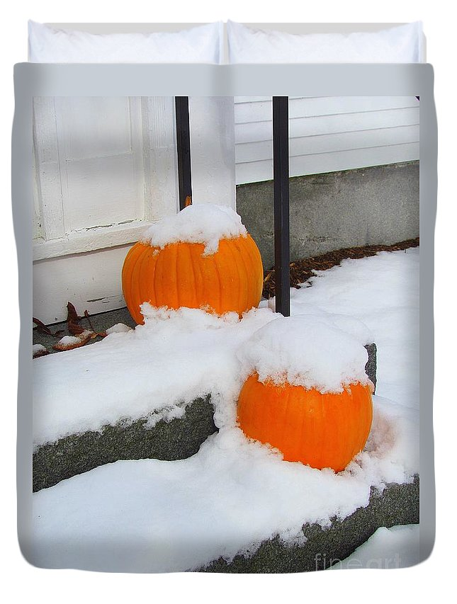Pumpkins Duvet Cover featuring the photograph Halloween Snow by Elizabeth Dow
