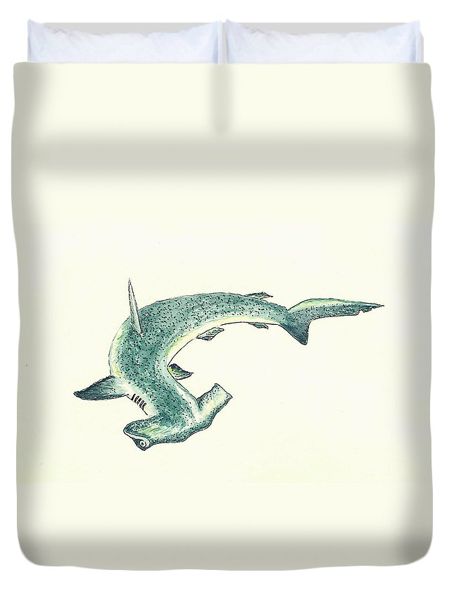 Shark Duvet Cover featuring the painting Hammerhead Shark by Michael Vigliotti