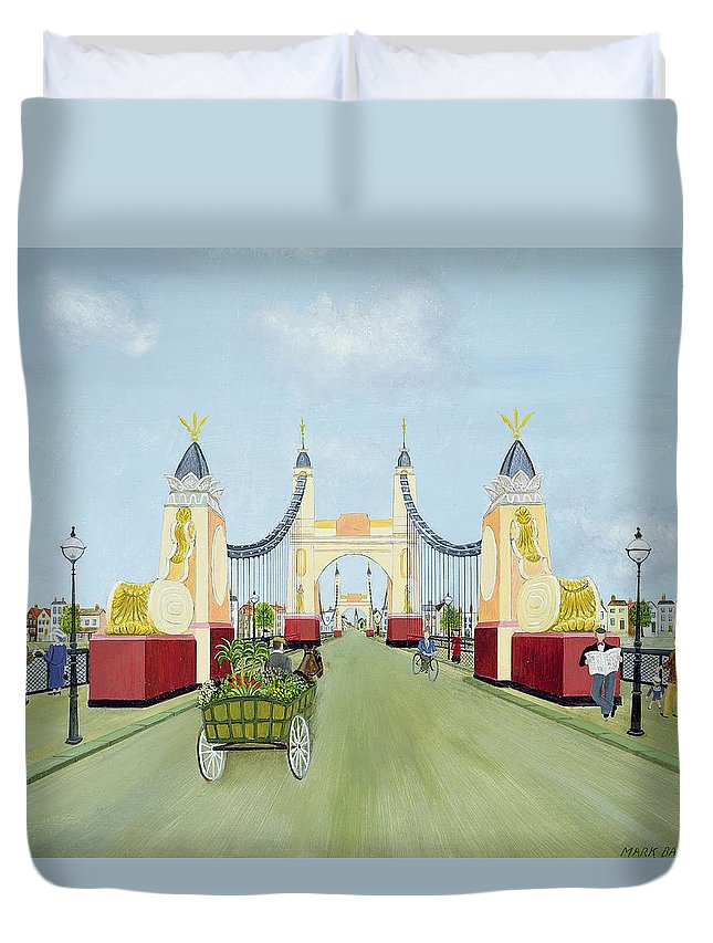 Contemporary Duvet Cover featuring the photograph Hammersmith Bridge, 1981 by Mark Baring