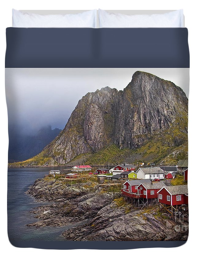 Duvet Cover featuring the photograph Hamnoy Rorbu Village by Heiko Koehrer-Wagner