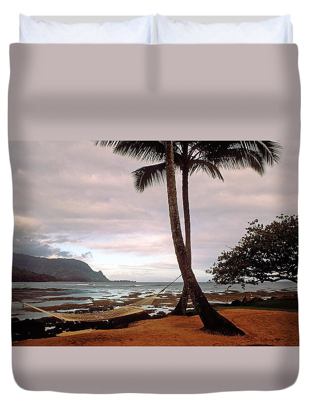Hanalei Duvet Cover featuring the photograph Hanalei Bay Hammock At Dawn by Kathy Yates