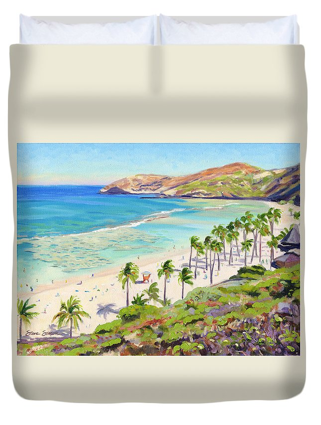 Hanauma Bay Duvet Cover featuring the painting Hanauma Bay - Oahu by Steve Simon