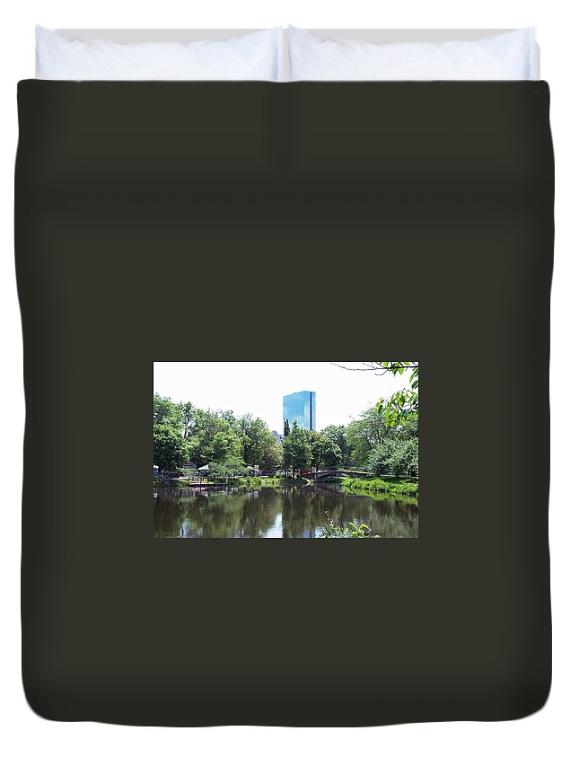 Building Duvet Cover featuring the photograph Hancock Building From Lagoon by Barbara McDevitt