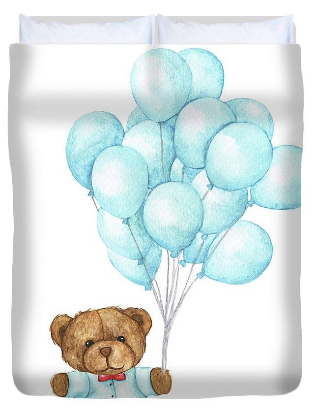 Art Duvet Cover featuring the digital art Hand Drawn Watercolor Of Teddy Bear by Khaneeros
