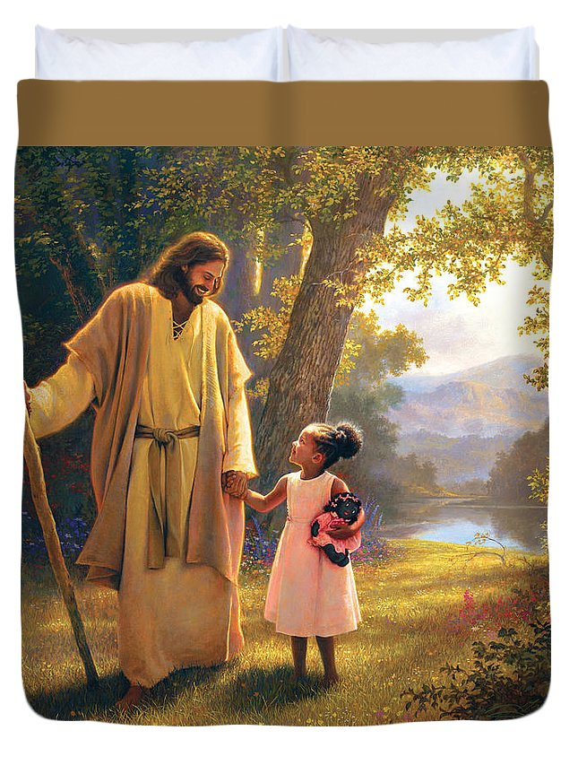 Jesus Duvet Cover featuring the painting Hand in Hand by Greg Olsen