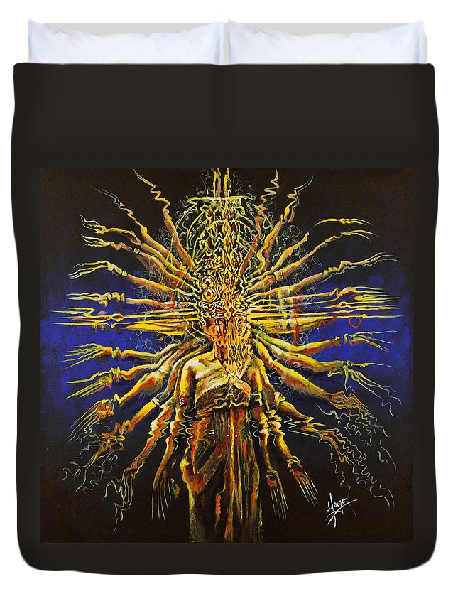Dance Duvet Cover featuring the painting Hands Of Compassion by Karina Llergo