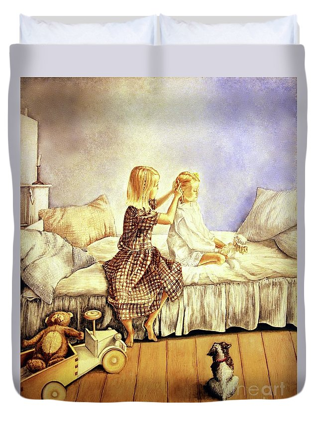 Animals Duvet Cover featuring the painting Hands Of Devotion - Childhood by Linda Simon