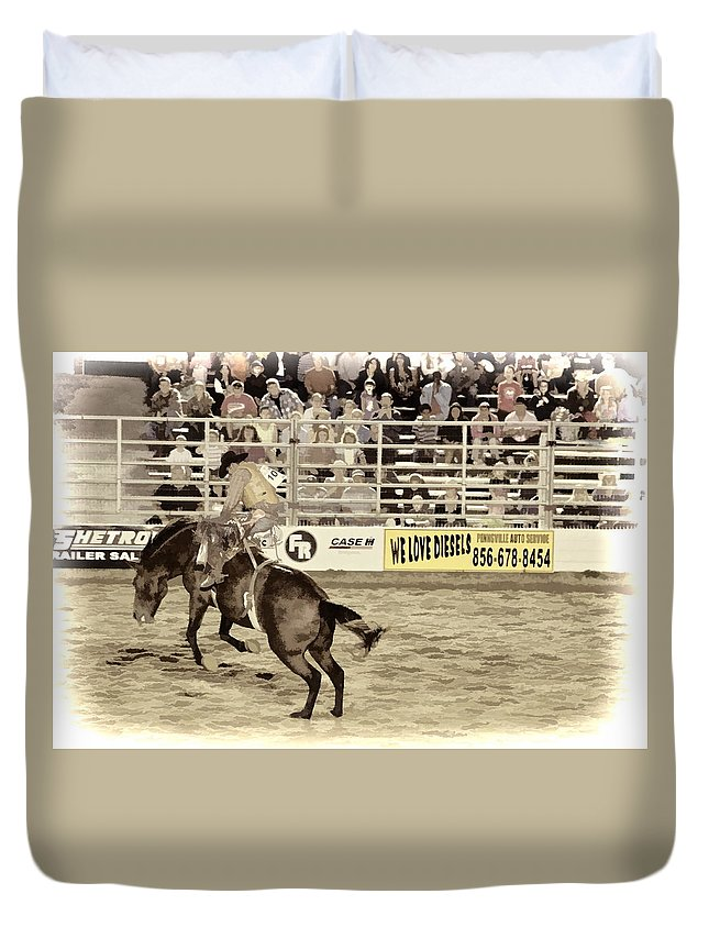 Cowtown Bronc Rider Horse Bareback Cowboy Duvet Cover featuring the photograph Hang On by Alice Gipson