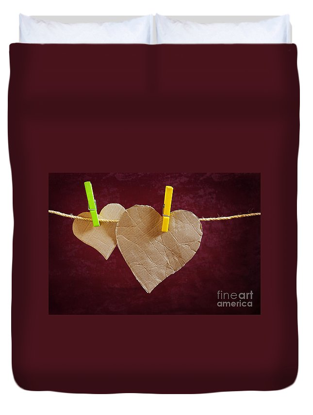 Aged Duvet Cover featuring the photograph Hanged Heart by Carlos Caetano