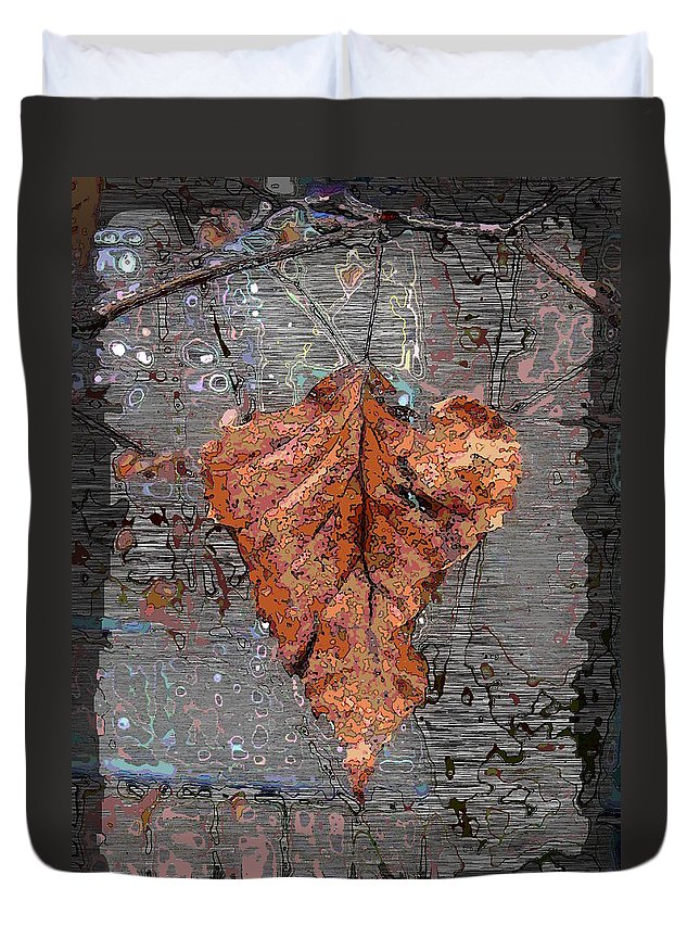 Leaf Duvet Cover featuring the digital art Hangin In There by Tim Allen