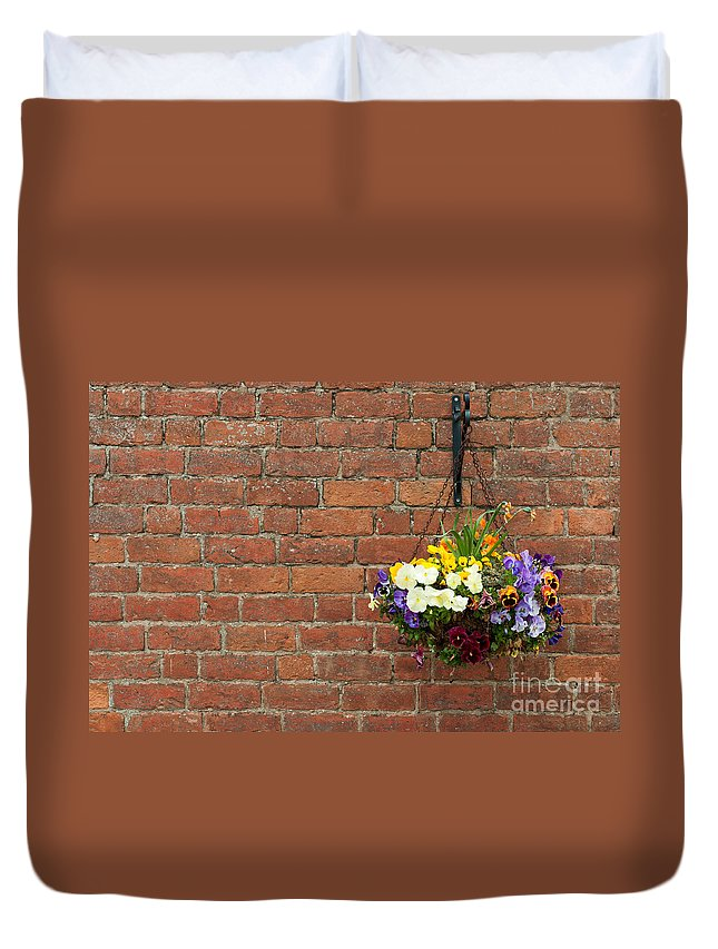 Flowers Duvet Cover featuring the photograph Hanging Flowers Pot by Luis Alvarenga
