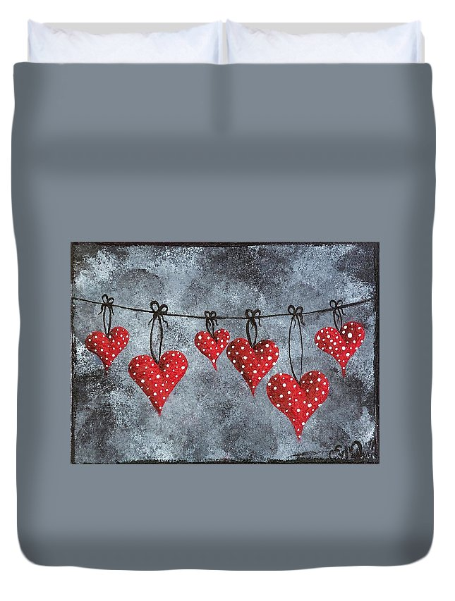 Heart Duvet Cover featuring the painting Hanging On To Love by Oddball Art Co by Lizzy Love