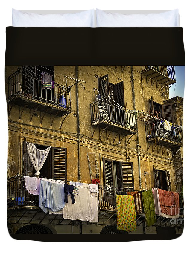 Laundry Duvet Cover featuring the photograph Hanging Out To Dry In Palermo by Madeline Ellis