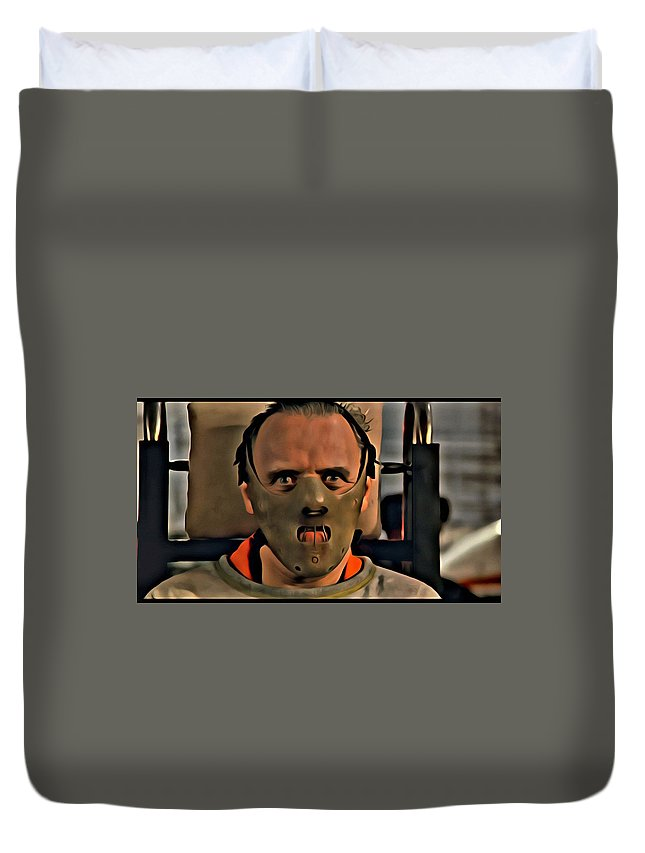 Silence Of The Lambs Duvet Cover featuring the painting Hannibal Lecter by Florian Rodarte